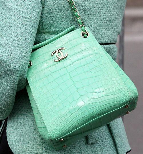 Chanel Mint Croc Shoulder Bag