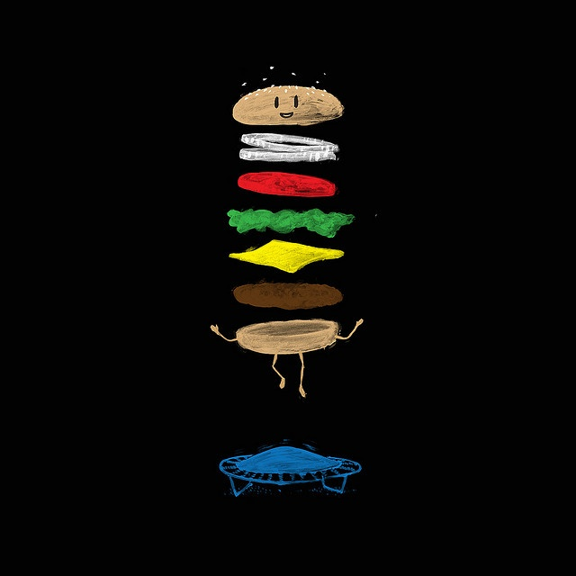 Cheeseburger on a trampoline by Laser Bread, via Flickr
