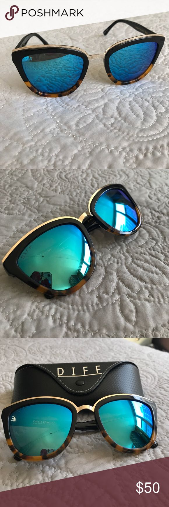 DIFF Eyewear Rose Polarized sunglasses The hottest brand of sunglasses, DIFF! Blue, polarized reflective Rose sunglasses. Black and tortoise frame with gold detail. These are SOLD OUT! Never worn, case included. Cheapest DIFF glasses on Poshmark -Hurry, they won't last!!! Diff Eyewear Accessories Sunglasses