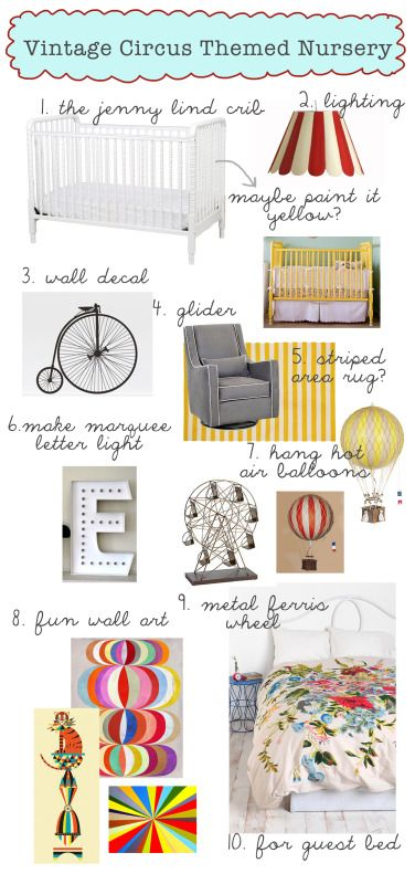 My Vintage Circus themed nursery inspiration board