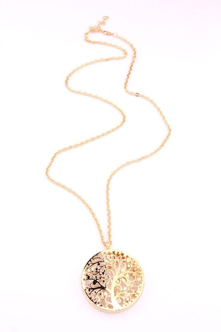 Ağaç İşlemeli Gold Madalyon Kolye - Z440