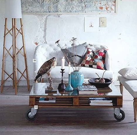 cozy little settee, coffee table on wheels