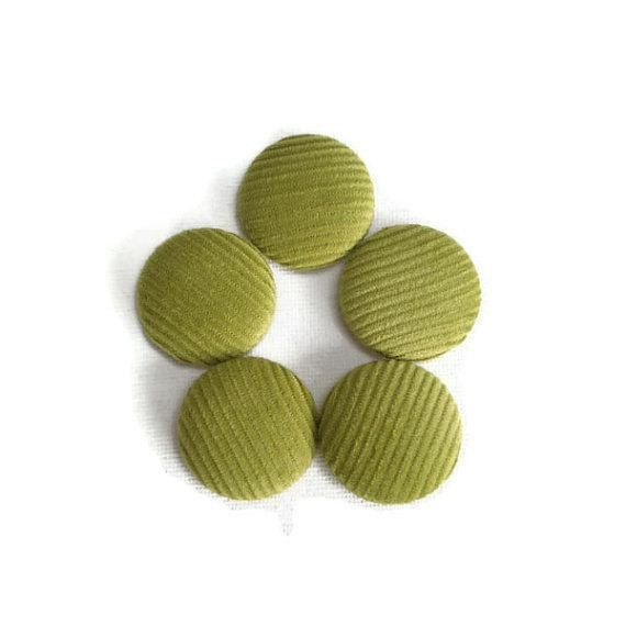 Lime Green Fabric Covered Buttons Handmade by MissTreeCreations, $7.70