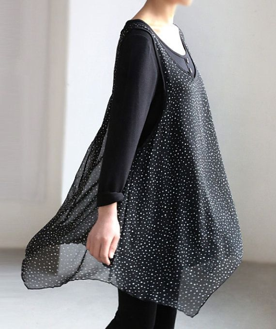 black cotton Double layer dress/ Double layer Bottoming shirt/ long sleeved gown