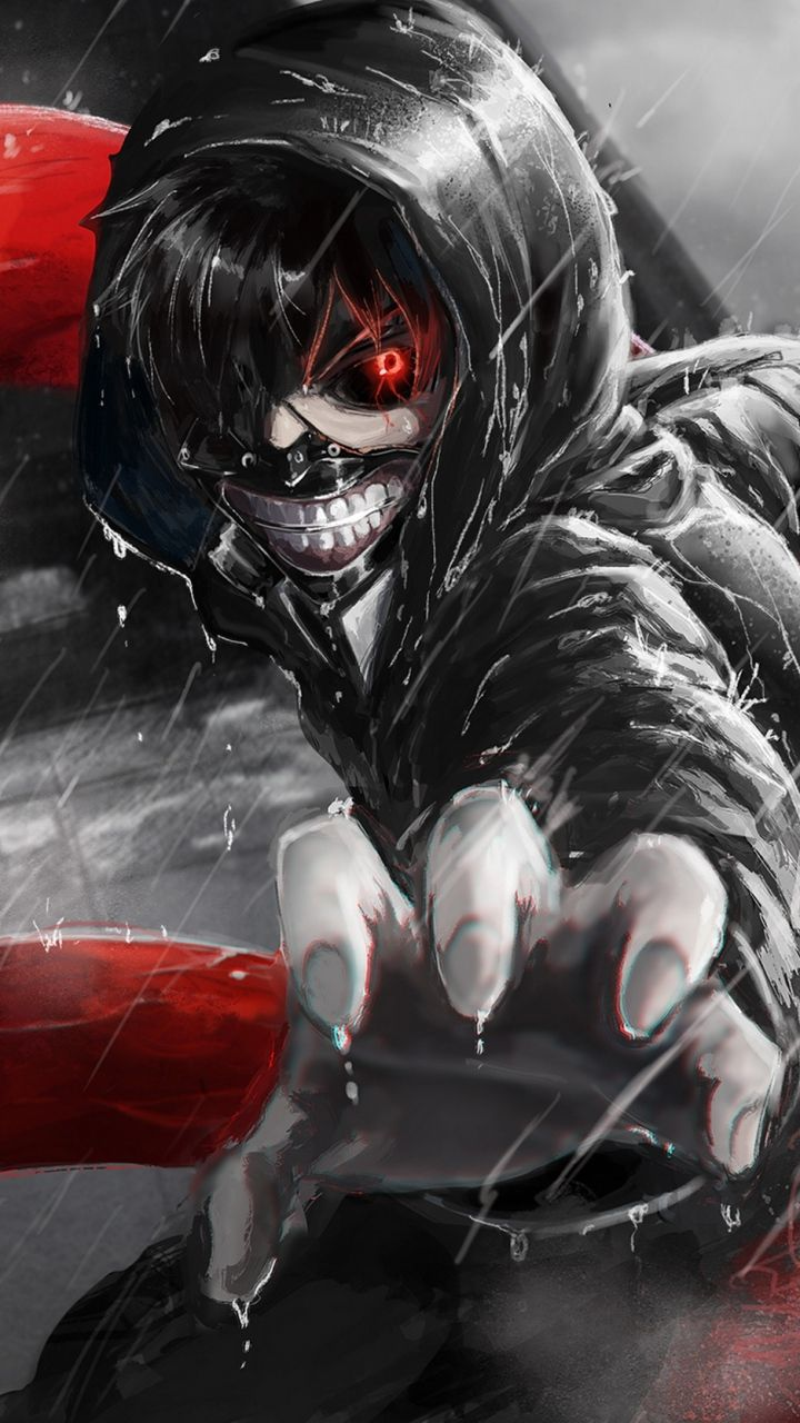 720x1280 Wallpaper kaneki ken, tokyo ghoul, look, gesture, claw, rain
