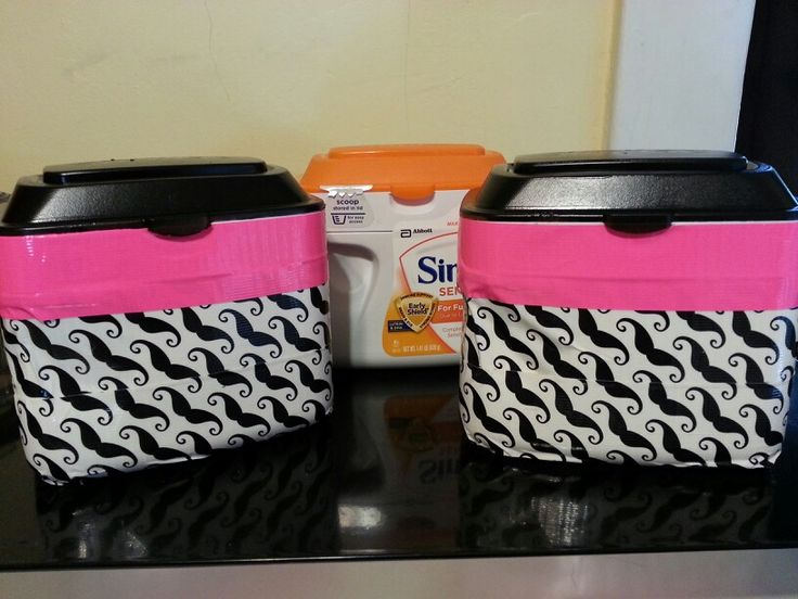 "Upcycled formula containers! I used Krylon satin spray for the top & fun duck tape for the bottom. The tape makes it easy to replace if you want to change your decor. Great for classroom or home storage. I stole this idea from other pinners & love it. Thanks for the ""pinspiration""!"
