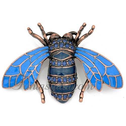 Sapphire Crystal Blue Honey Bee Rhinestone Pin Brooch: