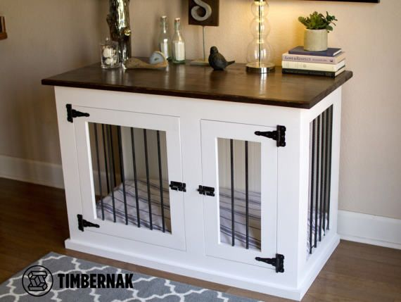 Dogs are awesome! Their homes should be too. Built with quality wood and hardware to create a furniture piece that becomes apart of your home.  Timbernak kennels have properly aligned spacing around the doors. Hinges and latches are straight and securely tightened. Using Titebond 3 wood glue at each connection point, my kennels are built for life. Shipped fully assembled straight to you in less than 2 weeks.  Specs: Top is 24x48 Footprint is 23x46 Inside dimensions are 21.5x44.5 and 32 tall