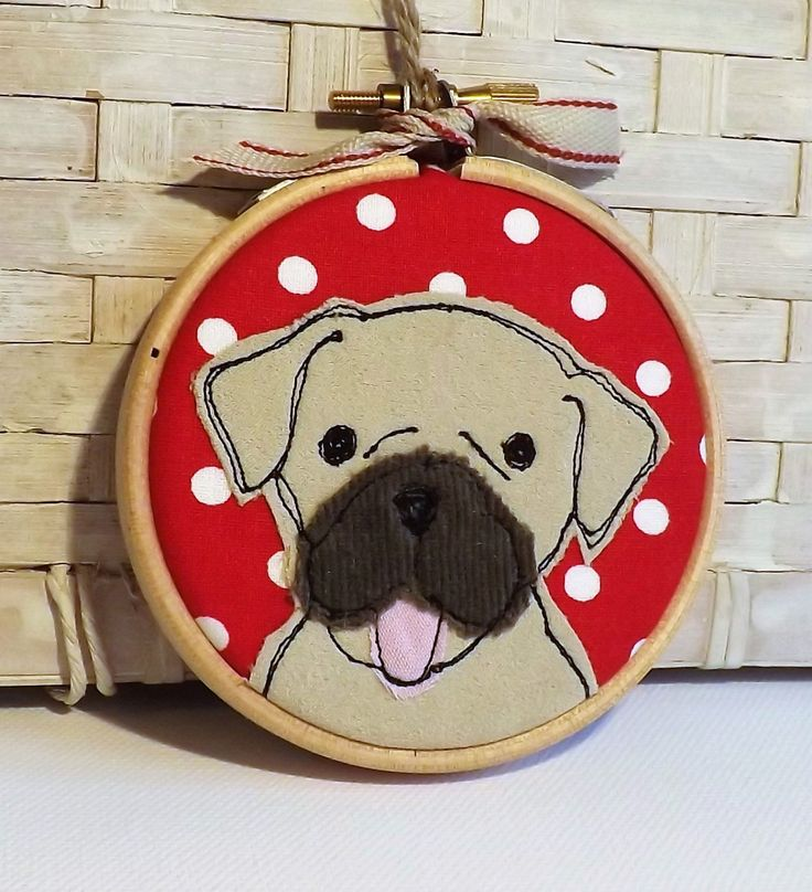 Pug, dog, hoop, hoop art, applique, embroidery, free motion, gift, decoration, ornament by TheDogandtheMoon on Etsy