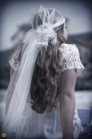 Cleodora Veil on Kalogria Beach - Nymphi Design Bridal Accessories -  Greece