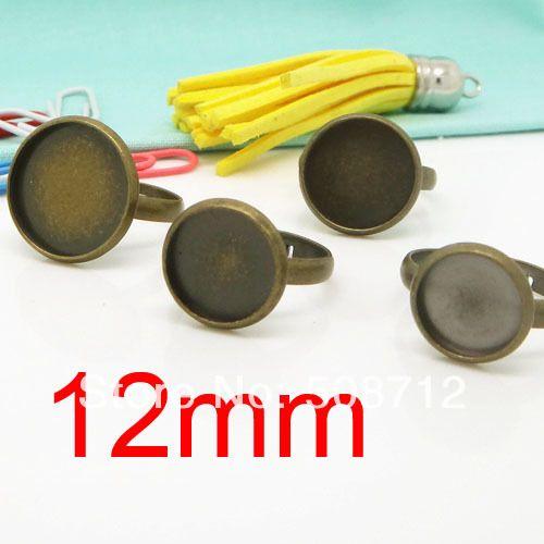 100 piece/lot антикварный бронза тон металл 12 мм круг регулируемый кольцо база бланки лотки и ободковая закрепка выводы