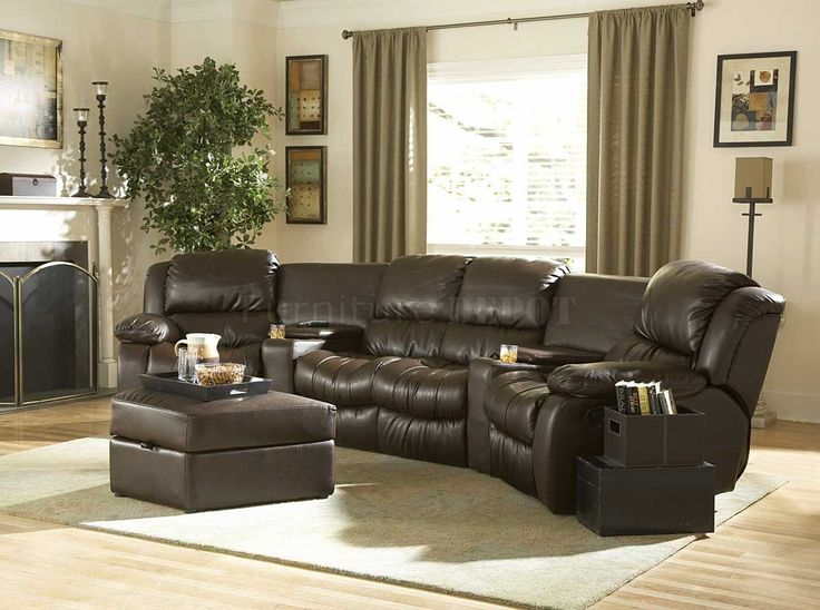 Sectional Sofas | Brown Bonded Leather Home Theater Recliner Sectional Sofa