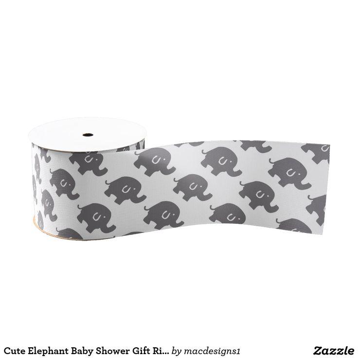 Cute Elephant Baby Shower Gift Ribbon Grosgrain Ribbon