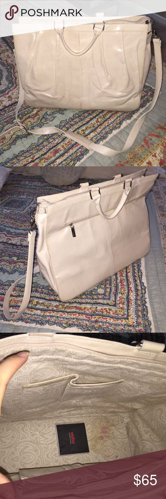 Hobo international cream large bag/laptop purse Used but good condition one stain shown in photo. Cream color beautiful bag! Great for carrying a computer or papers for work. Removable strap included. HOBO Bags Laptop Bags