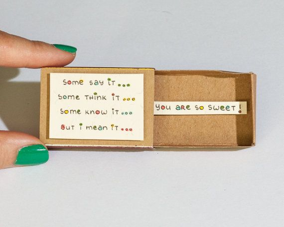 "Cute Funny Love Friendship Card ""You are so sweet"" Matchbox / Gift box / Message box"