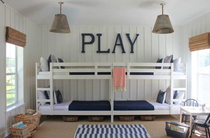 Lauren Leonard Interiors: Fabulous boys bunk room with Ikea Mydal Bunk Bed Frames painted white, Benjamin Moore ...