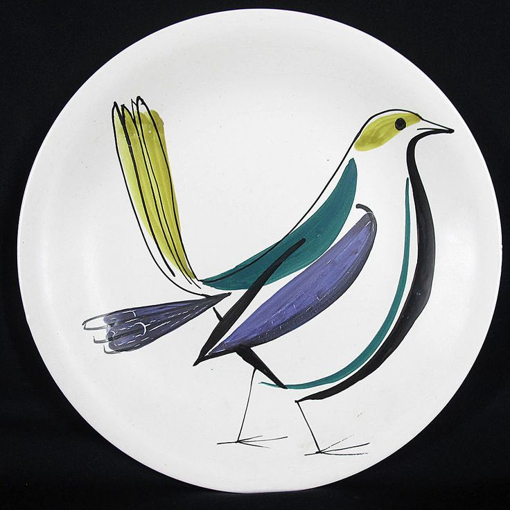 Mid-century plates by Roger Capron, Vallauris, France, circa 1950s.