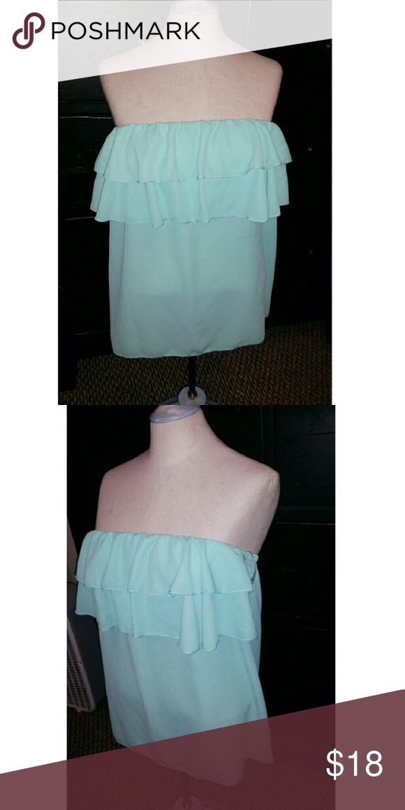Giddy Up Glamour Teal strapless blouse from the boutique Giddy Up Glamour Giddy Up Glamour  Tops Blouses