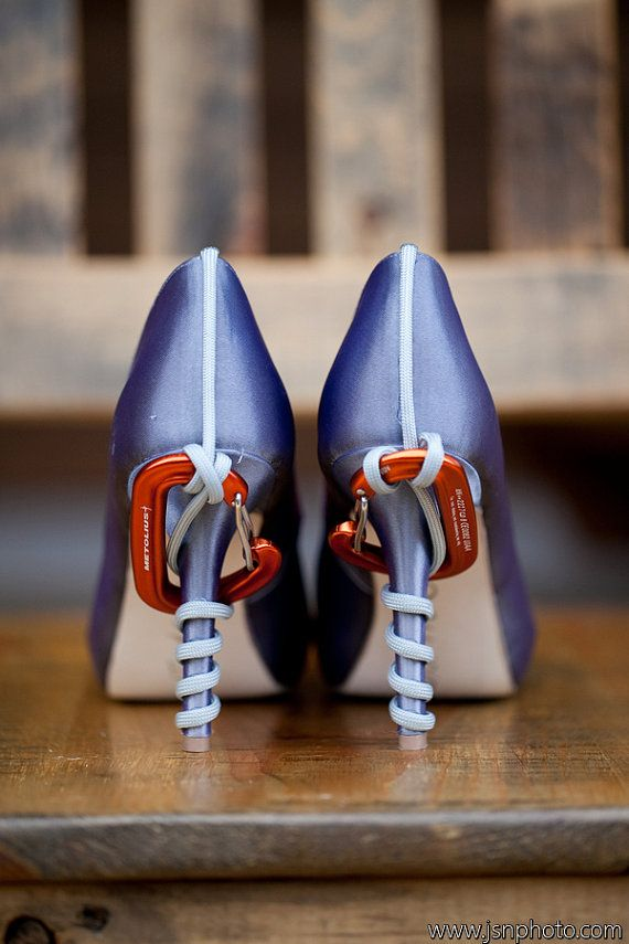 If I was a climber, these are awesome!! Wedding Shoes  Custom Themed Wedding Shoes by DesignYourPedestal, $325.00