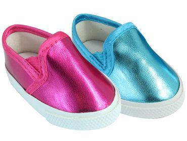 """18"""" Doll Slip on Sneaker in Metallic Colors fits American Girl Sneakers"""