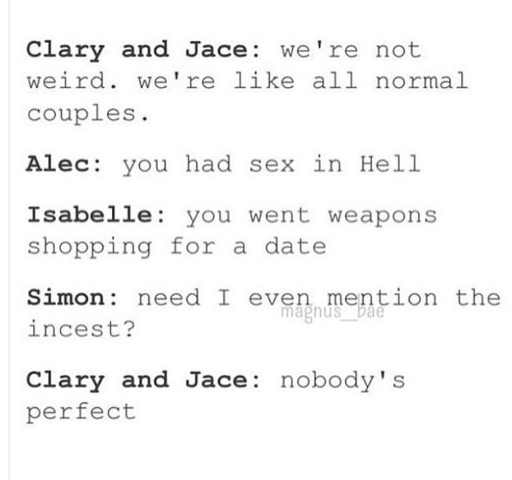 Tags: Shadowhunters, the mortal instruments, Clary Fairchild, Clary Fray, Jace Herondale, Clace, Alec Lightwood, Isabelle Lightwood, Simon Lewis