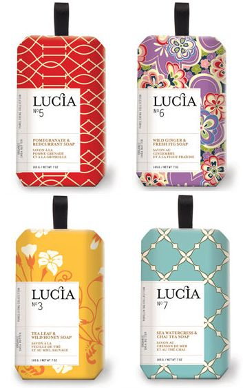 ♥ lucia soap - various patterns and colors tied together with a strong branding box makes for interesting yet coherent set of packages.