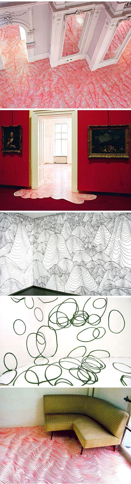 heike weber (floor, and wall, drawings)