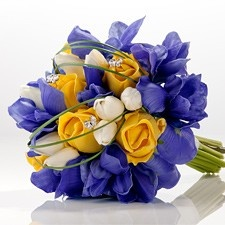 Blue Iris Silk Bridal Bouquet with Roses & Tulips