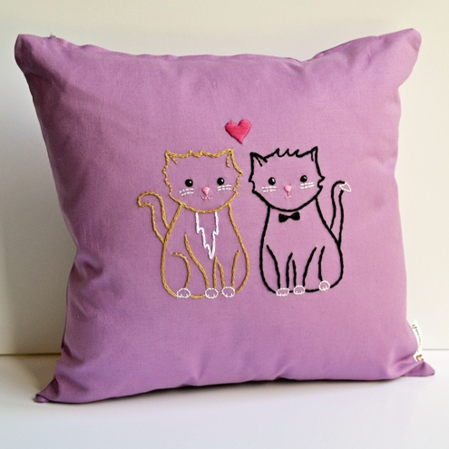 Kitty Love Embroidered Cushion £14.00