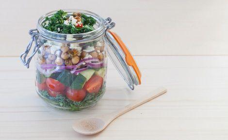 Kale Chickpea Layered Greek Salad
