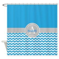 Blue Gray Chevron Shower Curtain #ad