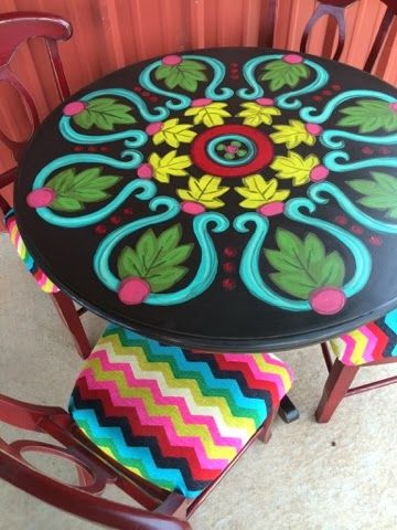 Paintingchick.com Chevron chairs and colorful painted table. Spool table painting idea