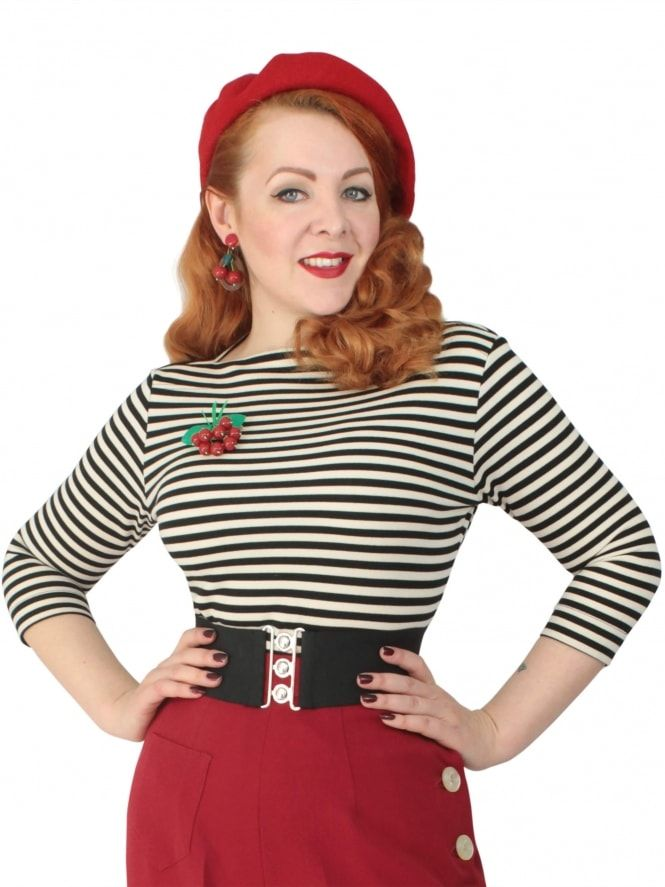 ab3b1270f8f7d4 50s-1950s-Vivien-of-Holloway-Best-Vintage-Style-Reproduction-Repro-Slash- Neck-Top-Black-Stripe-Rockabilly-Swing-Pinup