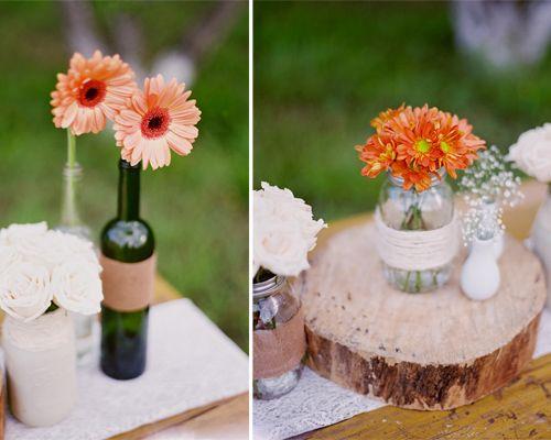 Foto vainilla wedding boda campirana decoraci n for Centros de mesa para restaurantes