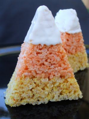 Candy Corn marshmellow treats: Corn Krispie, Idea, Recipe, Candy Corn, Candycorn, Corn Rice, Halloween Treats, Rice Crispy Treats, Rice Krispie Treats
