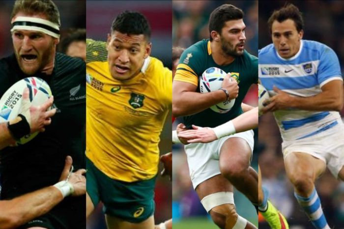 The Rugby World Cup 2015 Semi-Finalists: New Zealand / Australia / South Africa / Argentina.  The Southern Hemisphere teams prove exactly why they are the top teams in the world as they steam-trained their way into the semi-finals showing yet again where the home of excellent rugby is.