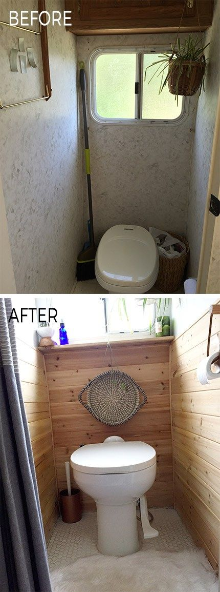 Camper bathroom before & after