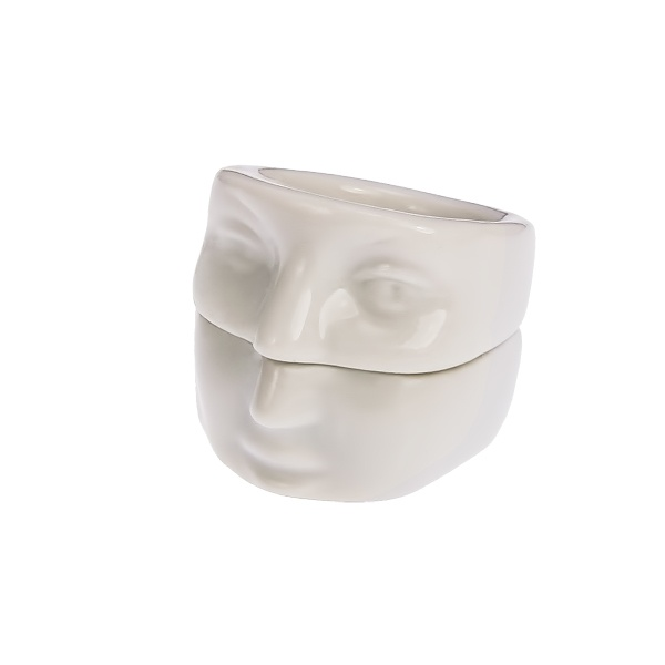 Angry bitch-white porcelain jewelery, double ring