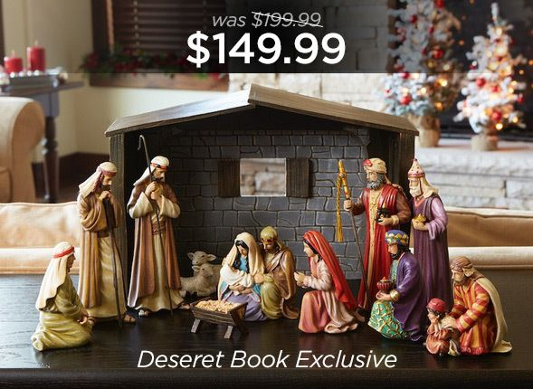 """Greg Olsen's popular painting, The Nativity comes to life in this gorgeous new nativity set. Capturing the detail and emotion of the original painting, the carefully crafted pieces embody the spirit of Christmas. Each of the 12 pieces is hand-painted resin, and the set comes in a lovely gift box. Stable height: 11"""", Tallest figurine: 7.5"""""""