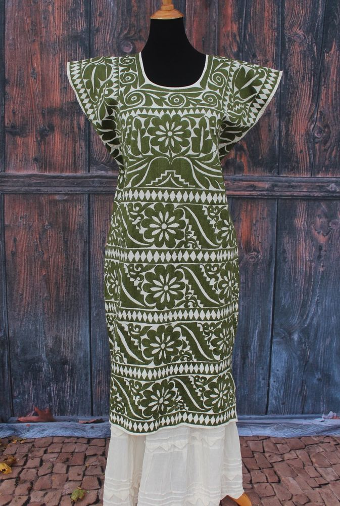 Olive & Cream Color Gala Huipil Hand Embroidered Jalapa Mexico Santa Fe Style #Handmade #MexicanDress