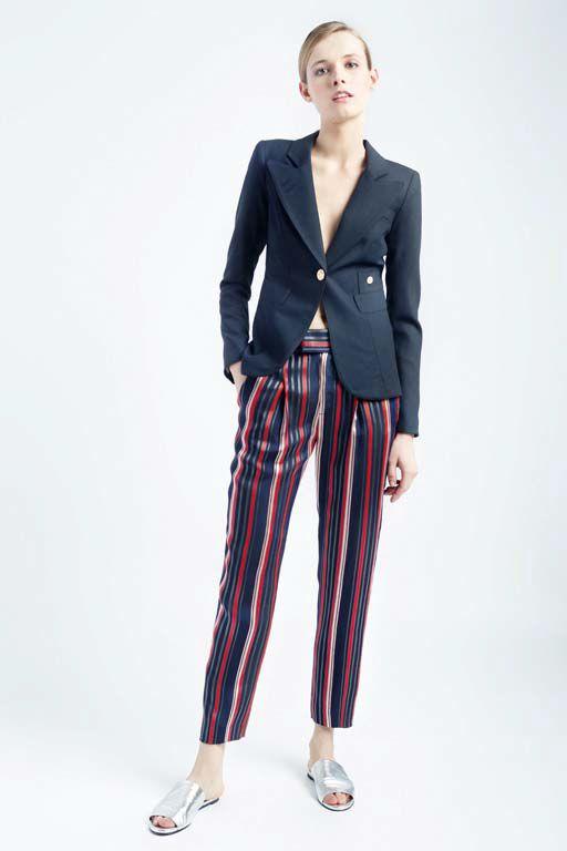 Smythe Duchess Blazer + Multi Stripe Cropped Pants