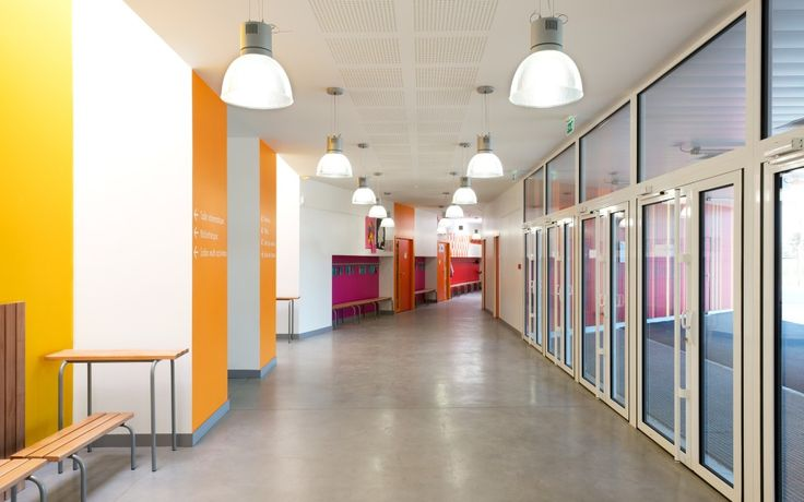 irregular, colourful, light hallways/circulation