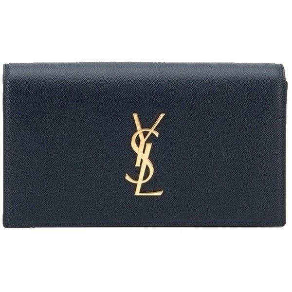 Pre-owned Saint Laurent Ysl Monogram Grained Leather Navy Clutch ($1,100) ❤ liked on Polyvore featuring bags, handbags, clutches, navy, navy blue handbags, blue clutches, navy handbag, monogram handbags and yves saint laurent handbags