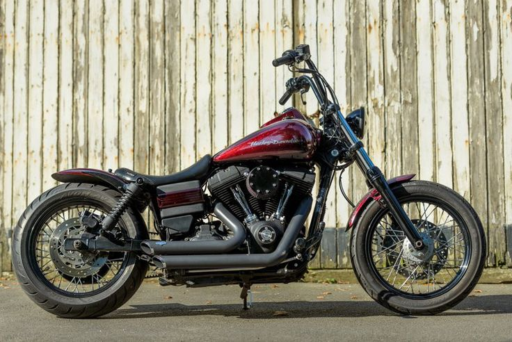 """Patrick's Harley Dyna fitted with the extended +70mm version of our Voodoo Fender, 18"""" rear with 200 tyre, LePera seat, V&H exhaust and Patrick's own air filter cover, license holder & shortened front fender.   Rocket Bobs"""