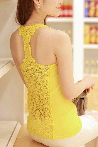 Romantic Crochet Lace Back Yellow Tank Top. Bohemian Ladies Tank top
