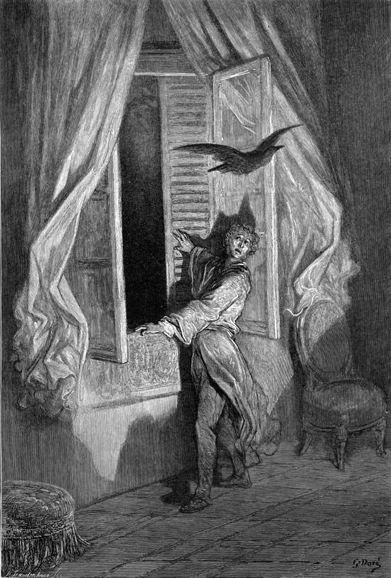 """""""The Raven"""" by Edgar Allen Poe - """"Not the least obeisance made he"""" as illustrated by Paul Gustave Dore 1884"""