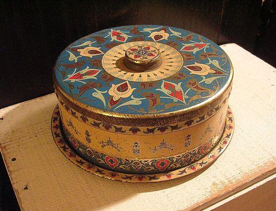 Blue Art Deco Box 1920s Cake Tin Antique Cake by tinprincess