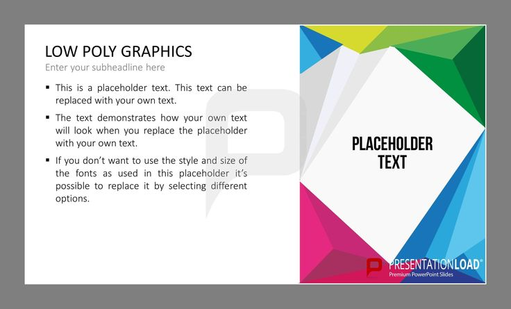 Mit den Low Poly Grafiken erhalten Sie kreative Vorlagen für Ihre PowerPoint-Präsentation. Füllen Sie die Platzhalter einfach mit Ihrem persönlichen Content und profitieren Sie von den großartigen Designs dieser Folien. @ http://www.presentationload.de/low-poly-grafiken.html