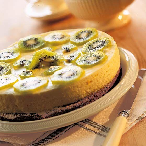 Citronmousse-tærte med kiwifrugt