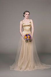 Sun evening gown- Golden eco-friendly silk evening gown with organic chiffon overlay skirt and criss-cross back by sustainable bridal designer Sanyukta Shrestha.